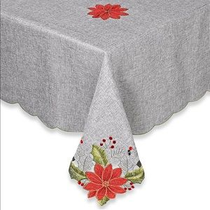 Fabric Grey Embroidered Xmas Round Tablecloth 70""